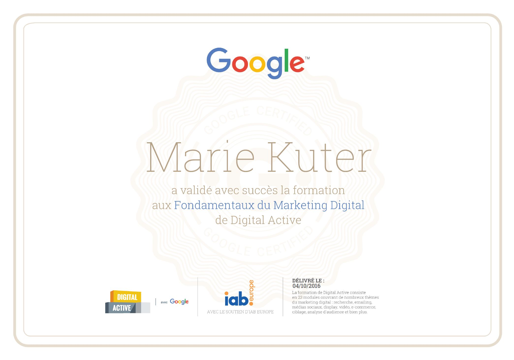 google digital active certification