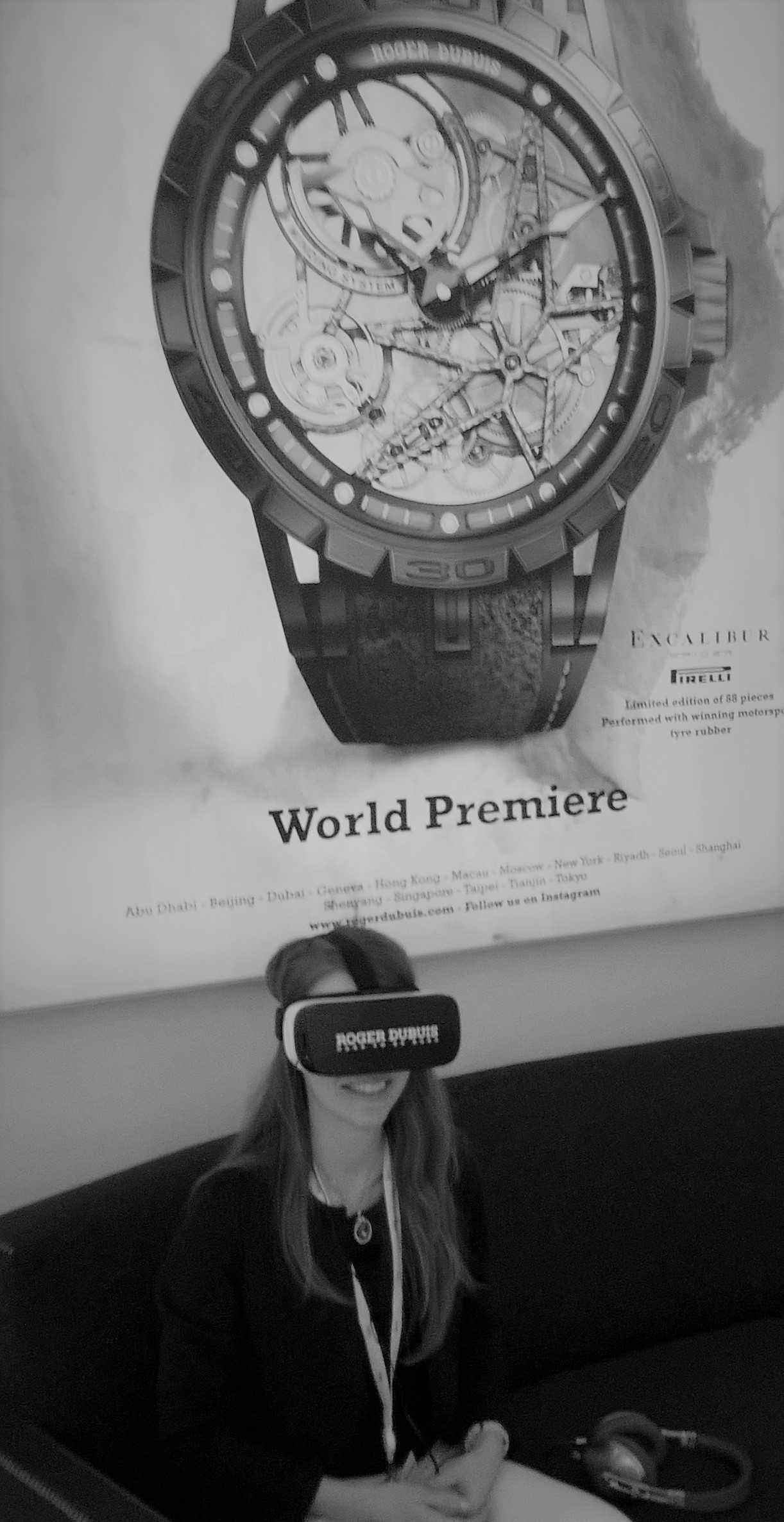VR glasses and headphones on: ready for a virtual reality video at Roger Dubuis's stand at the SIHH 2017!