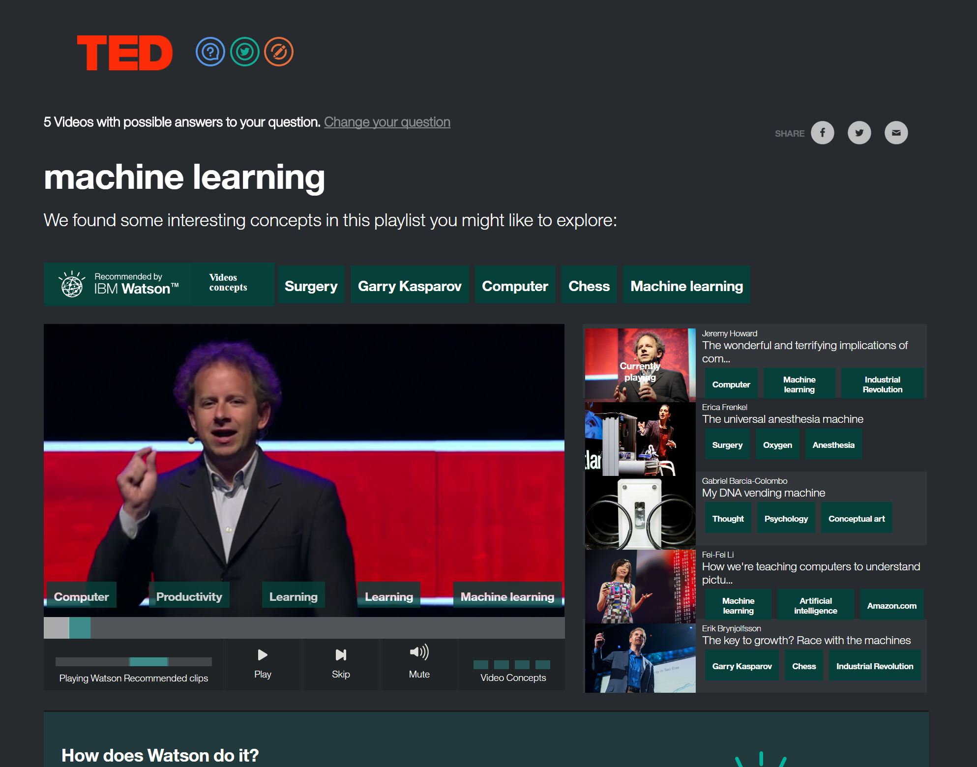 Ask your question: Watson answers with TED videos